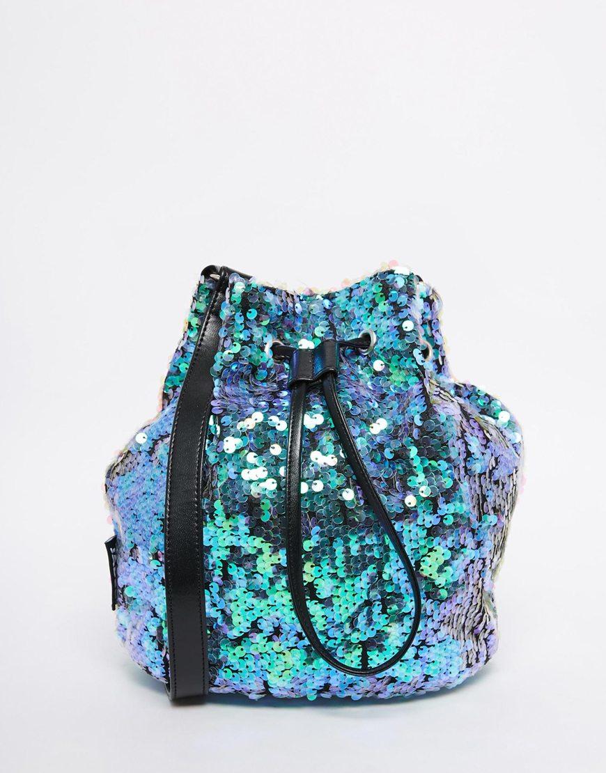 Jaded London Mermaid Iridescent Sequin Bucket Bag In Green