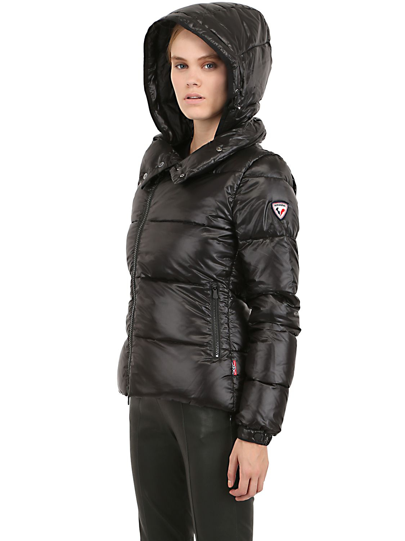 Rossignol Shiny Nylon Cristy Down Jacket In Black Lyst