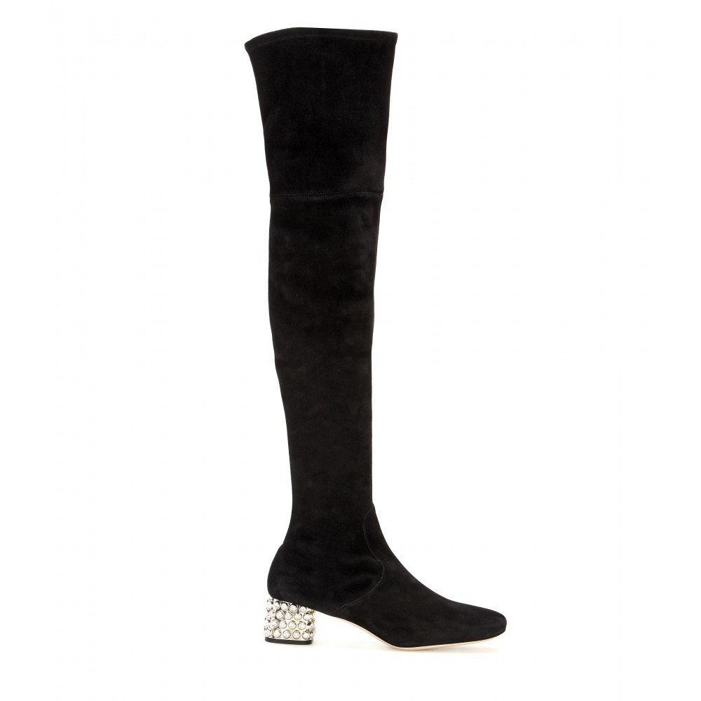 36bf3296be73 Lyst - Miu Miu Suede Over-The-Knee Boots in Black