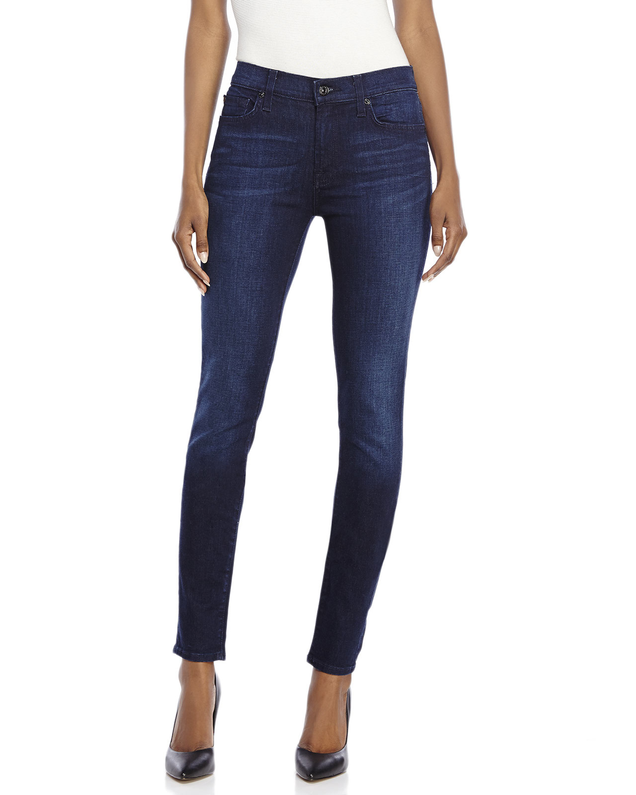 for all mankind gwenevere super skinny jeans in blue lyst. Black Bedroom Furniture Sets. Home Design Ideas