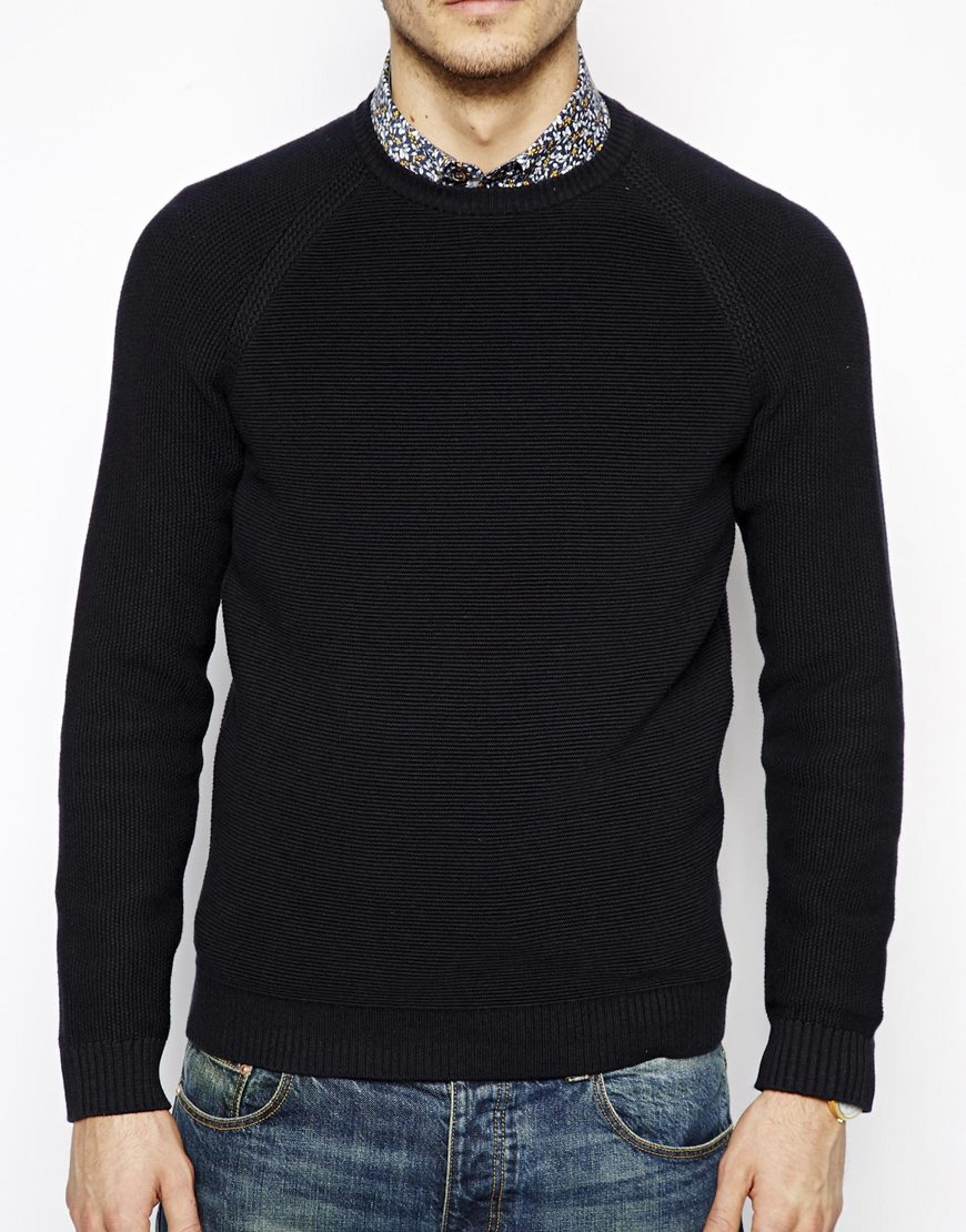 69413bf2ca9252 Ted Baker Jumper With Textured Knit in Blue for Men - Lyst