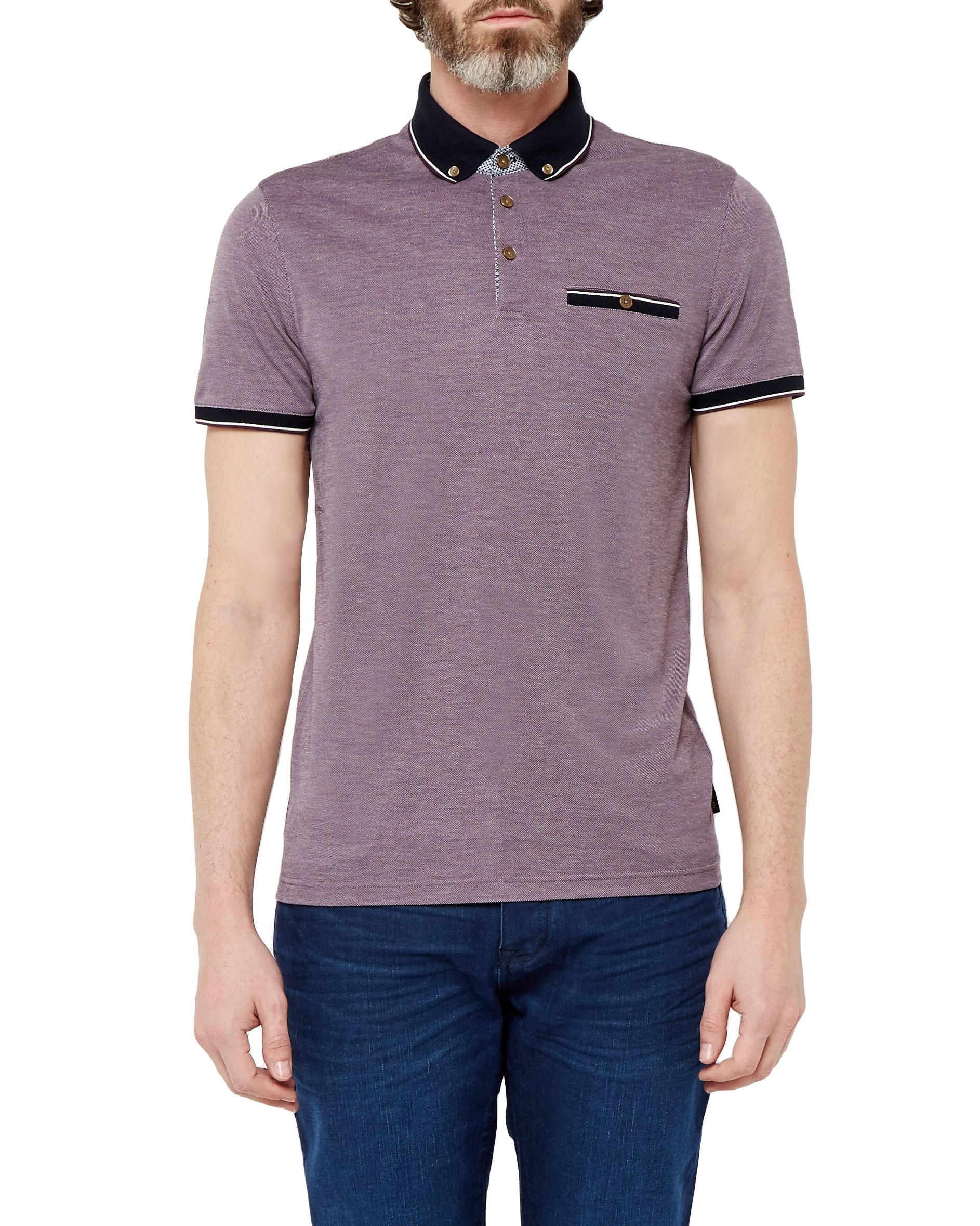 Ted Baker Fabalas Oxford Collar Polo Shirt In Purple For
