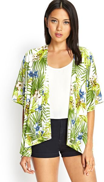 Forever 21 Tropical Print Kimono Jacket in Green (Ivory ...