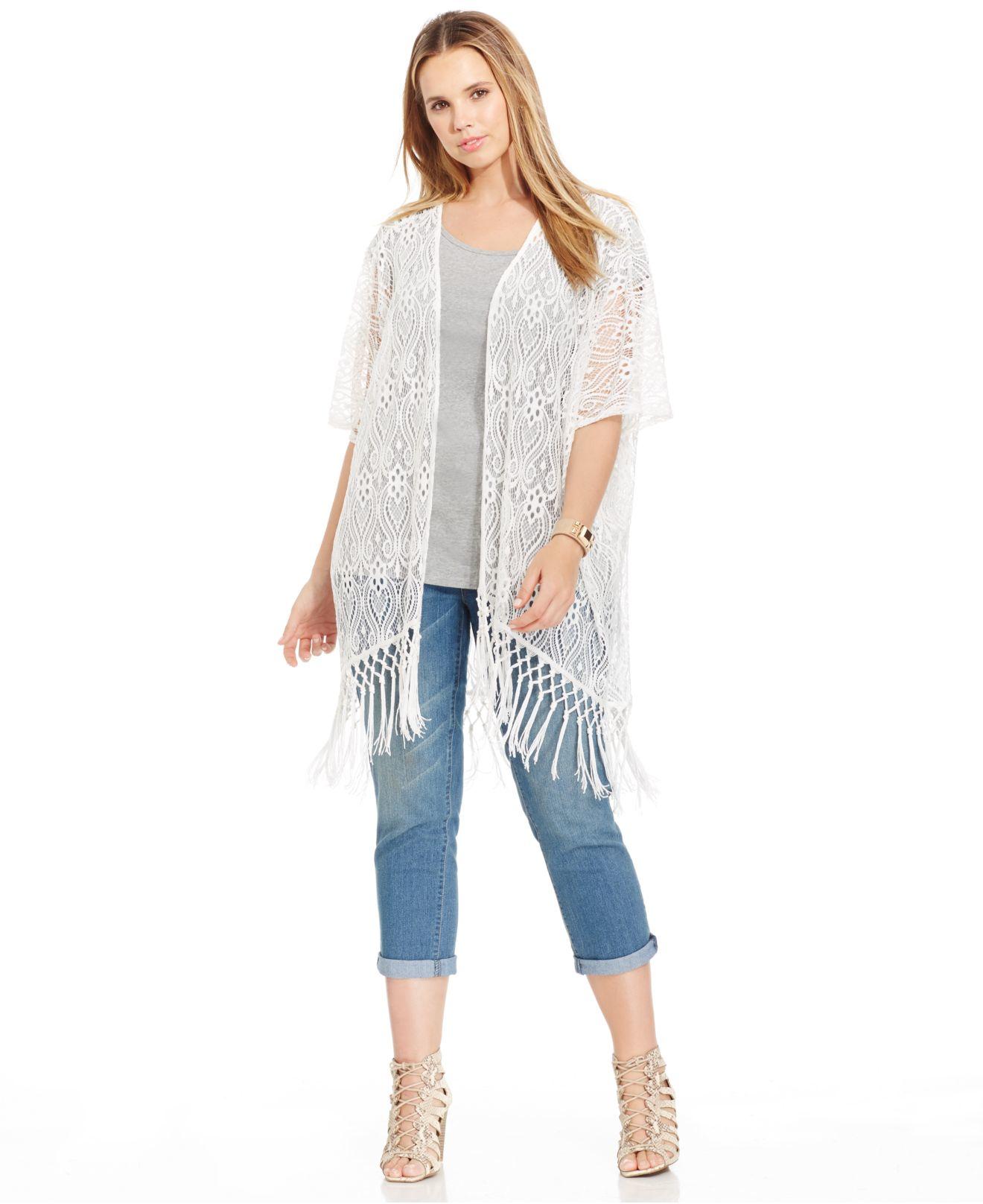 0c17c27bb Soprano Plus Size Fringed Lace Kimono Cardigan in White - Lyst