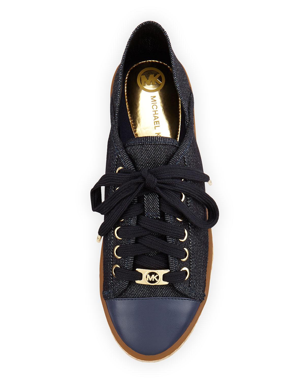 michael michael kors kristy denim lace up sneaker in blue lyst. Black Bedroom Furniture Sets. Home Design Ideas