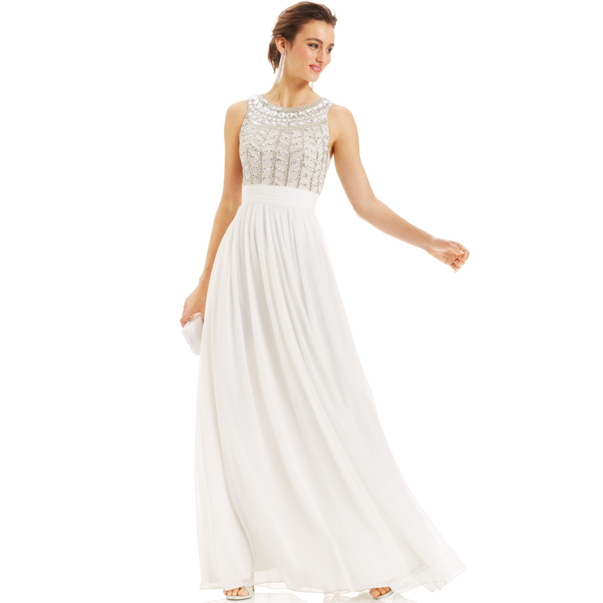 Lyst - Js Collections Dress Sleeveless Beaded Empirewaist Gown in White