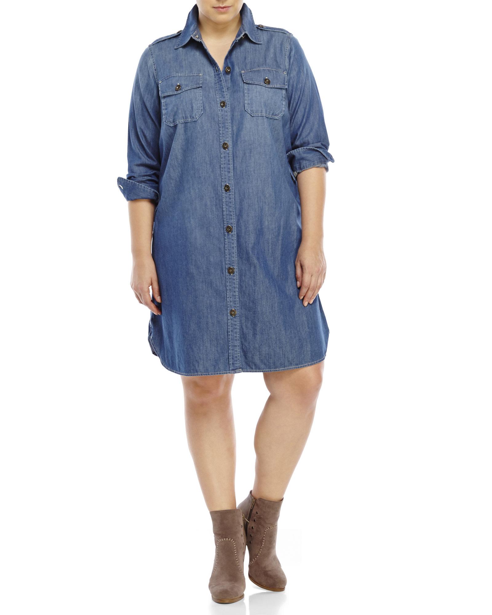 Plus Size Denim Shirtdress – DACC