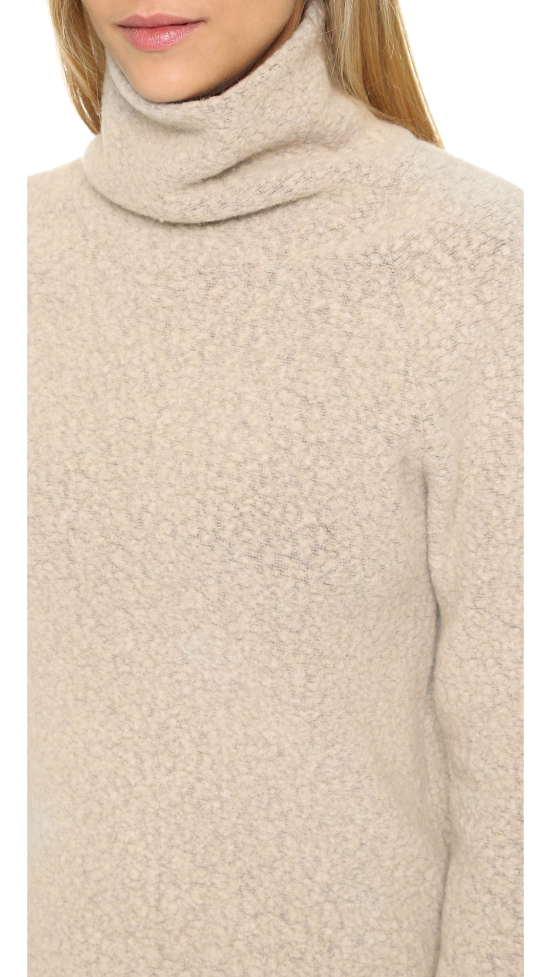 James perse Fleece Funnel Neck Pullover in Gray | Lyst