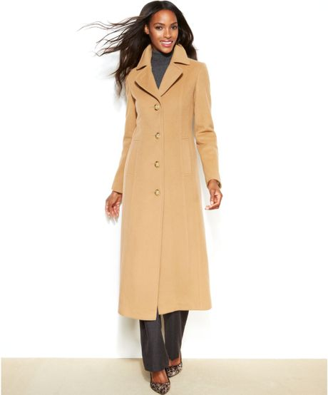 Anne Klein Petite Wool Cashmere Blend Maxi Walker Coat In