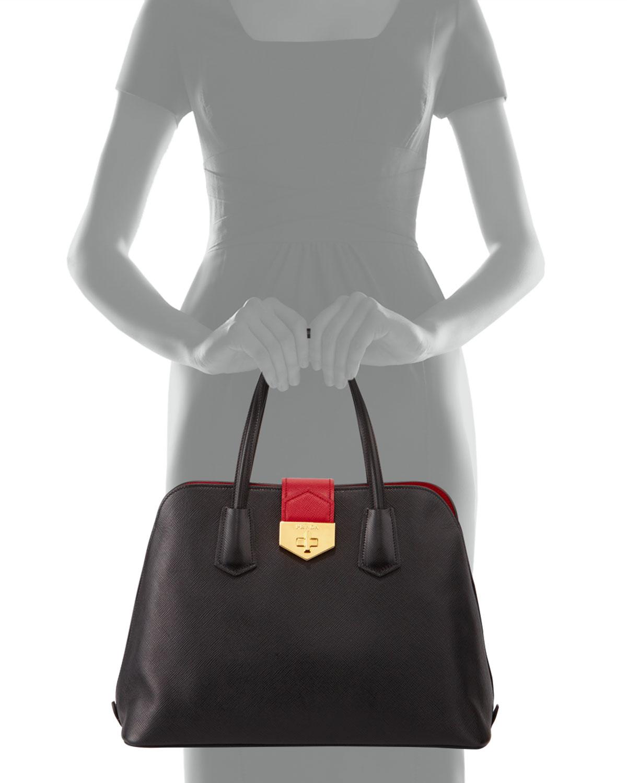 imitation prada purse - prada bi-color tessuto handle bag, prada imitations