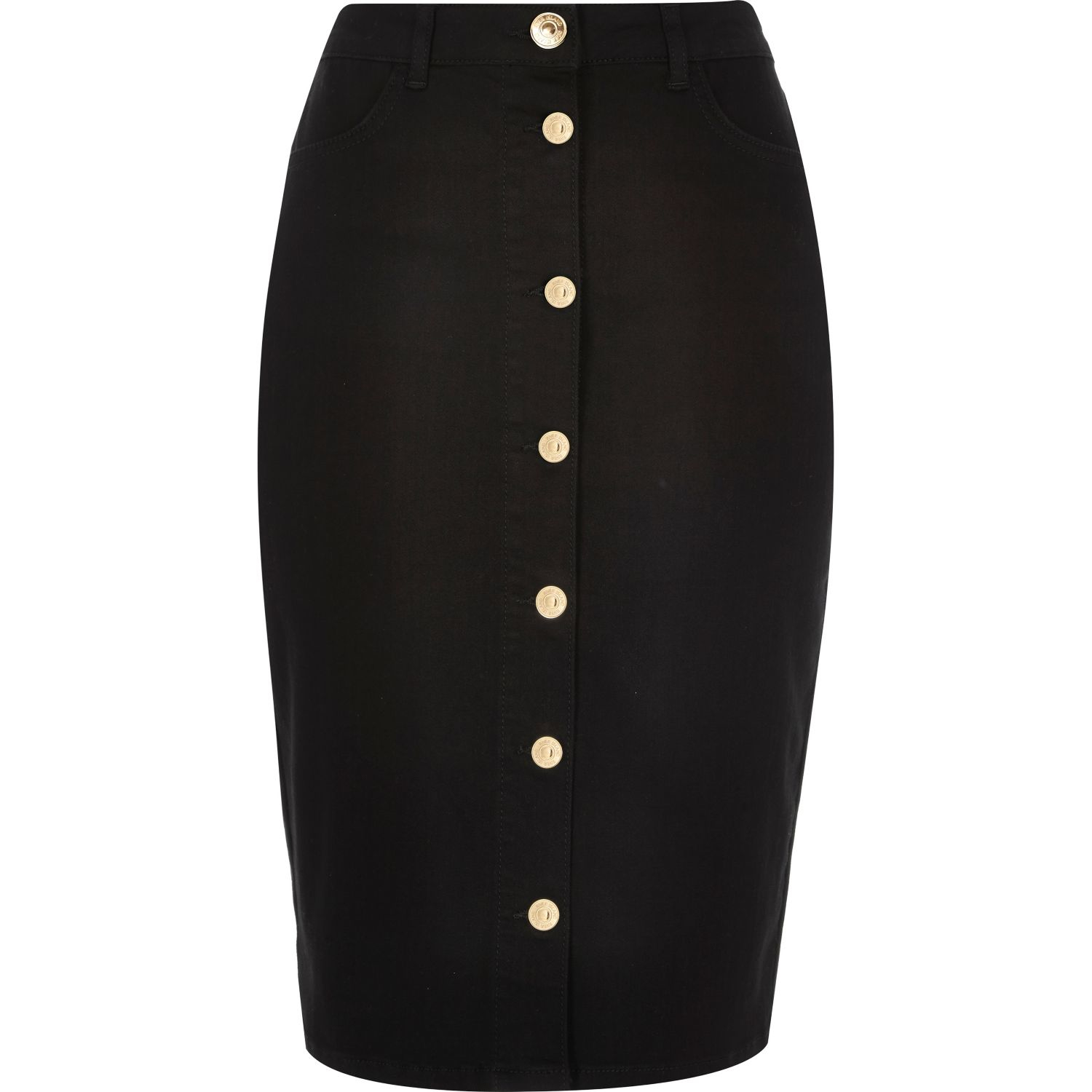 River island Black Denim Button-up Pencil Skirt in Black | Lyst