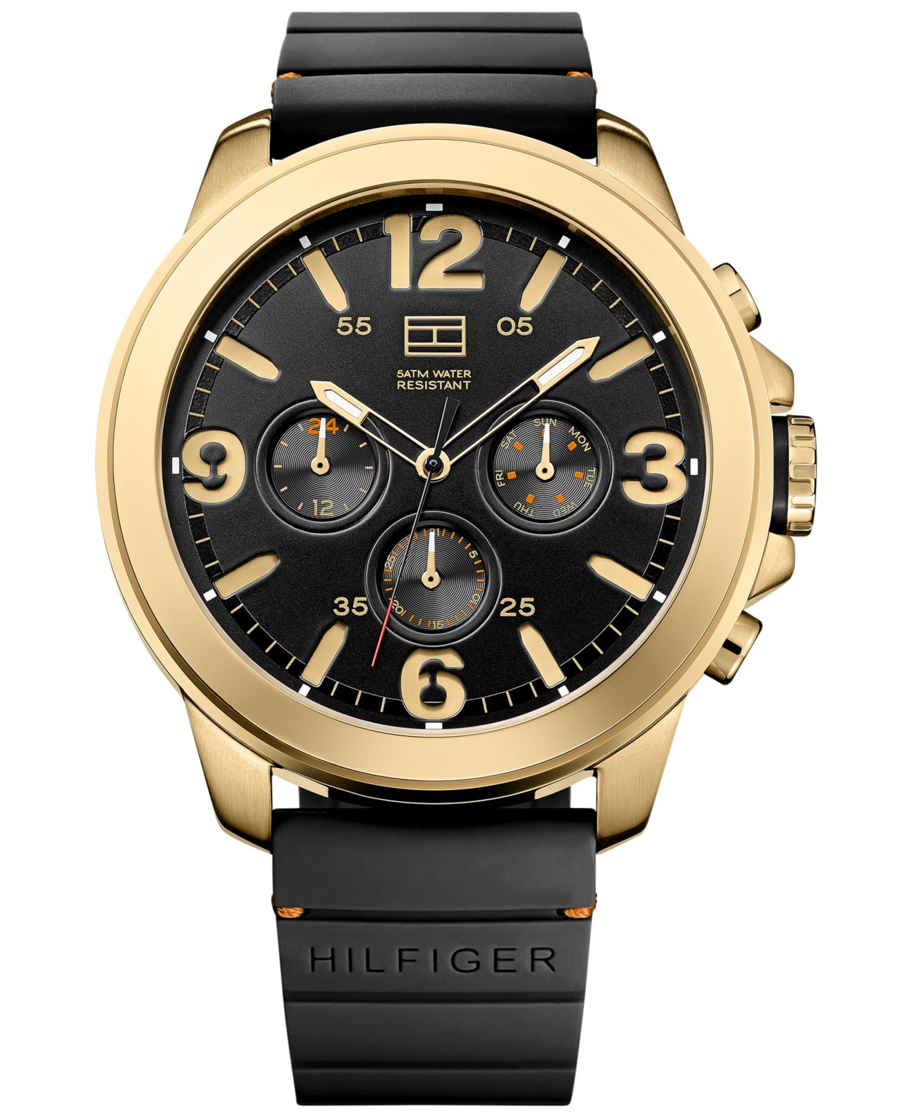 tommy hilfiger men s black silicone strap watch 50mm 1791095 in gallery