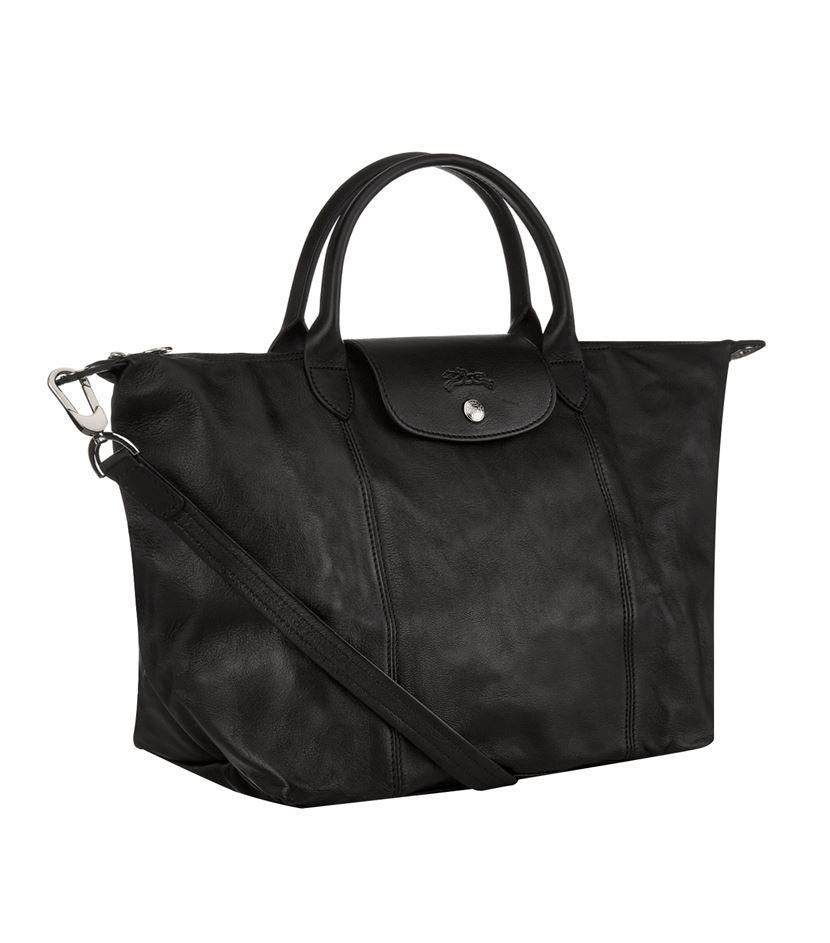 longchamp le pliage cuir medium handbag in black lyst. Black Bedroom Furniture Sets. Home Design Ideas