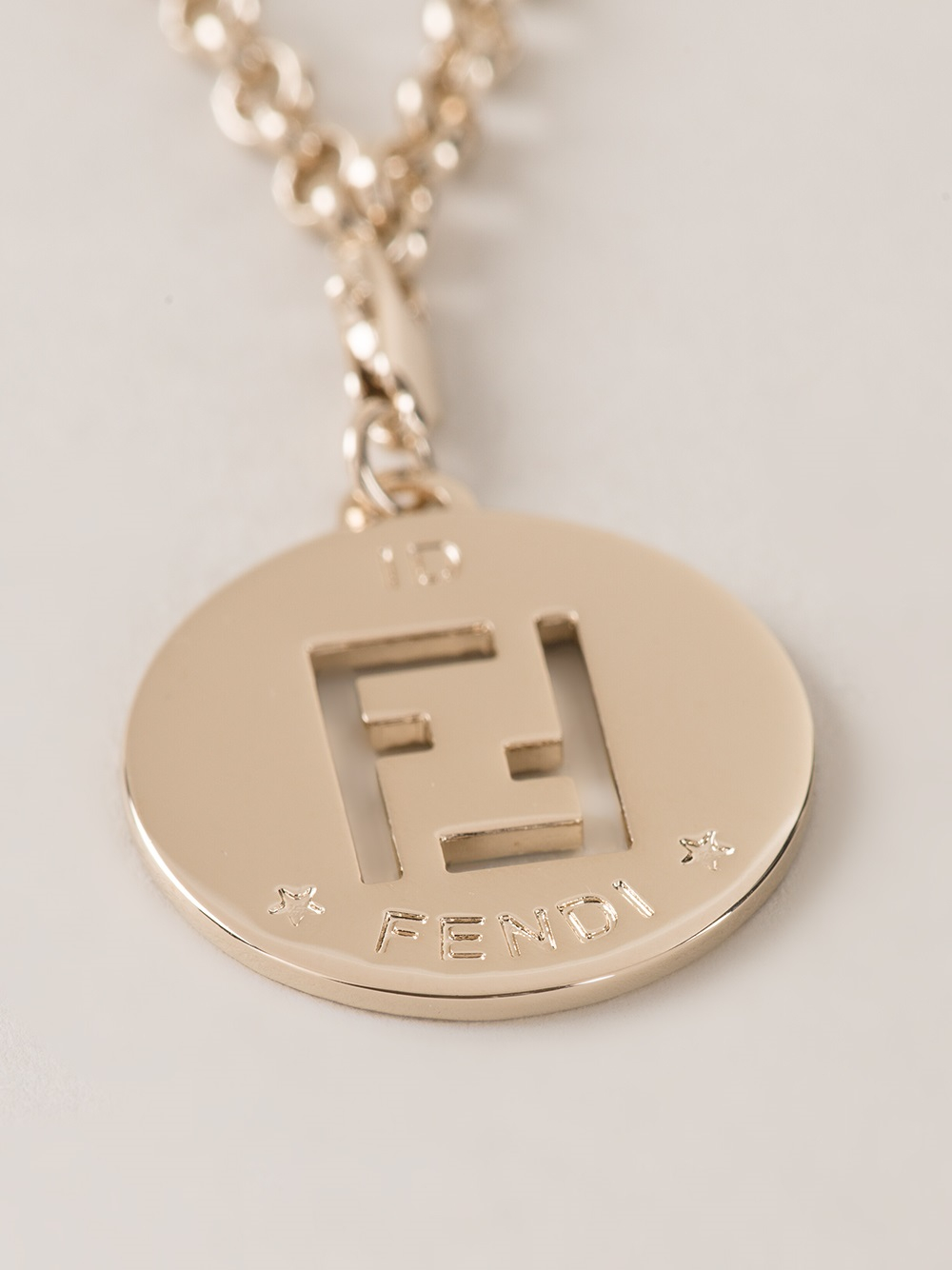 Lyst fendi logo pendant necklace in metallic gallery mozeypictures Images