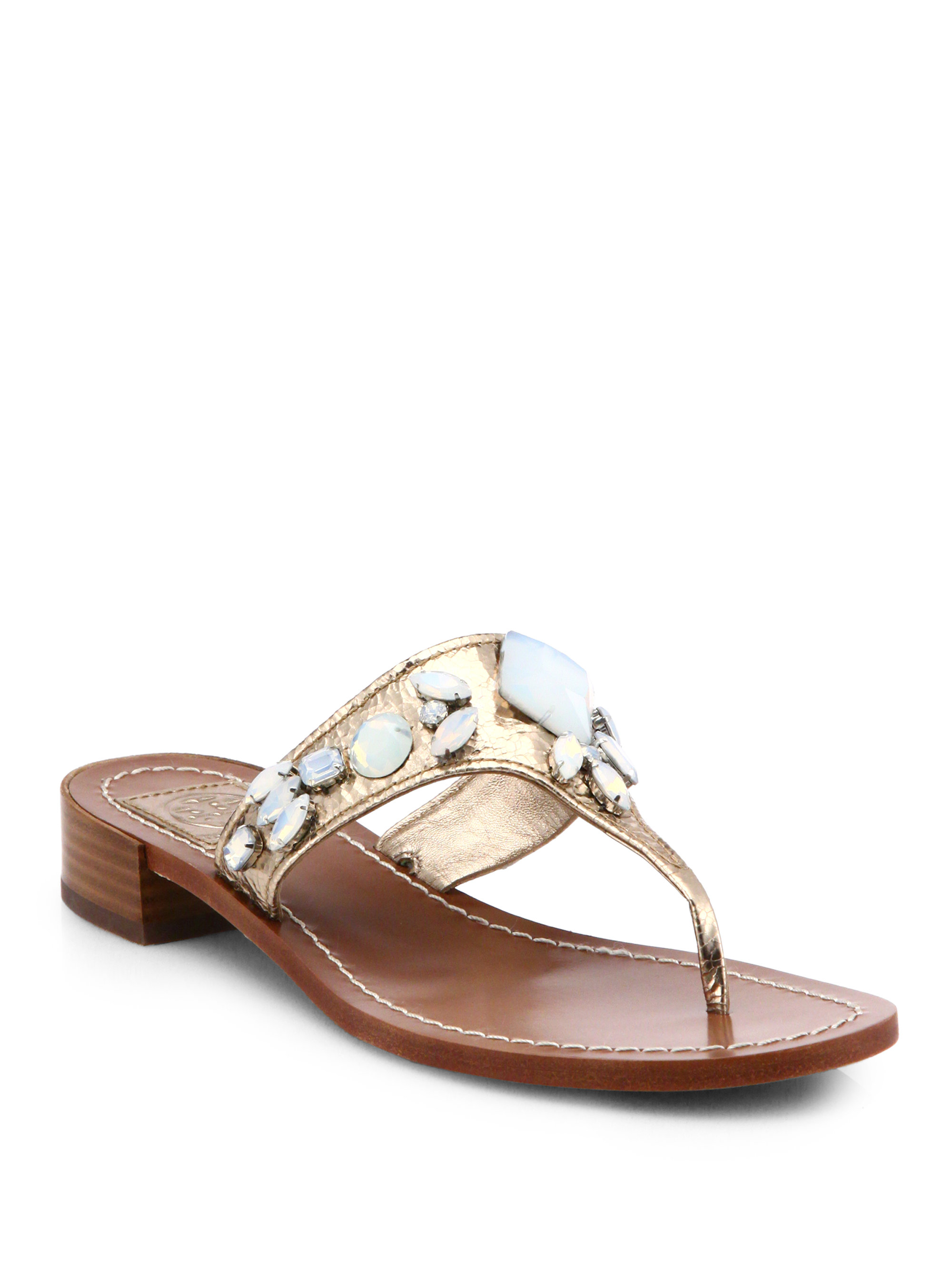 Tory Burch Ginevra Jeweled Metallic Leather Sandals In