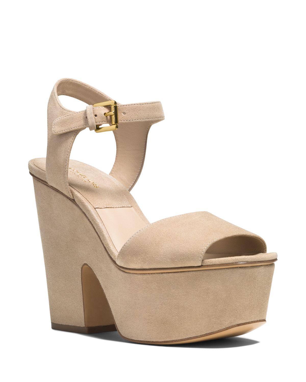 michael kors platform sandals harley suede high heel in natural lyst. Black Bedroom Furniture Sets. Home Design Ideas