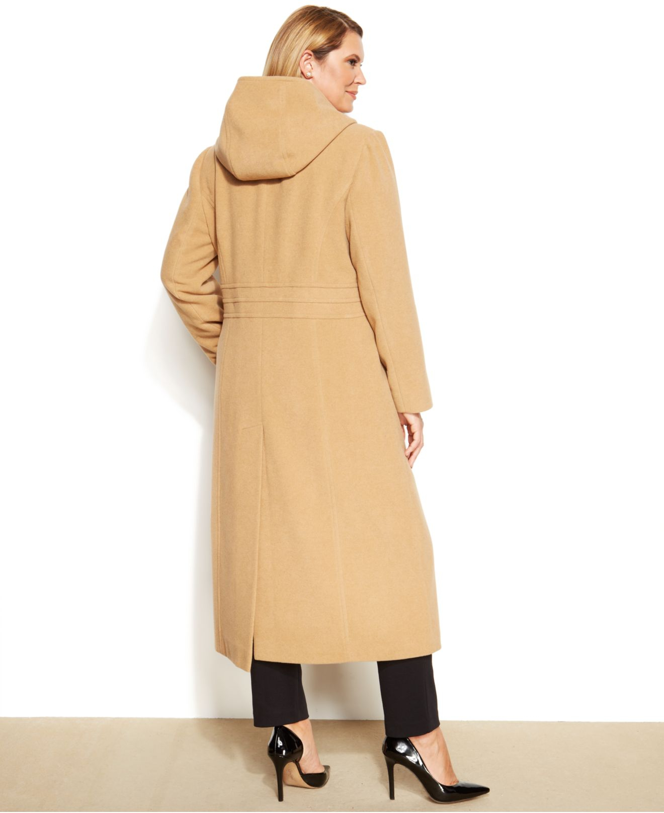 7d24f60a2a6 Lyst - Anne Klein Plus Size Hooded Double-Breasted Maxi Walker Coat ...