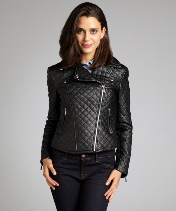 Bcbgeneration Black Quilted Faux Leather Asymmetrical Zip Cropped ... : quilted faux leather moto jacket - Adamdwight.com