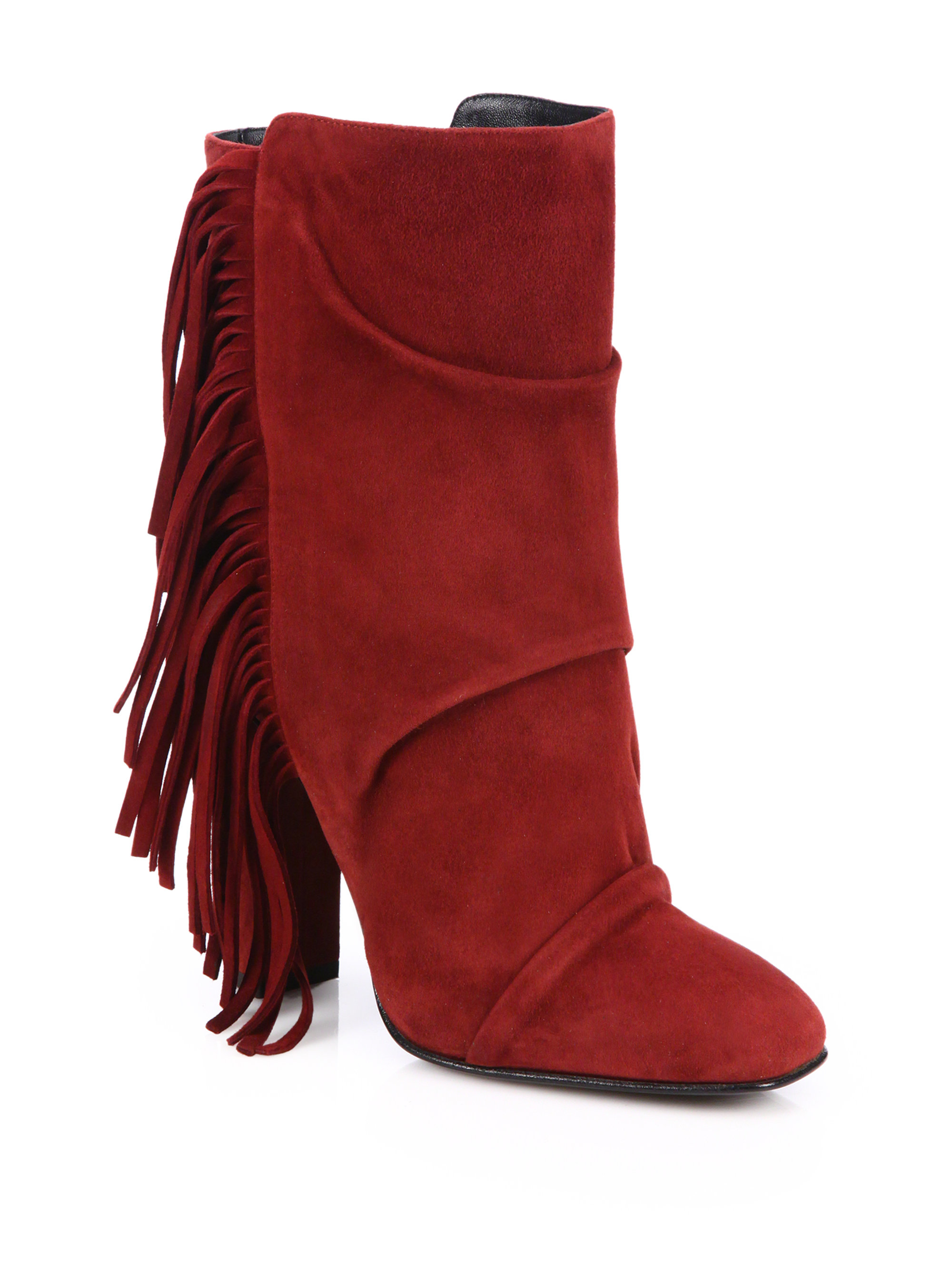 giuseppe zanotti fringed suede mid calf boots in lyst