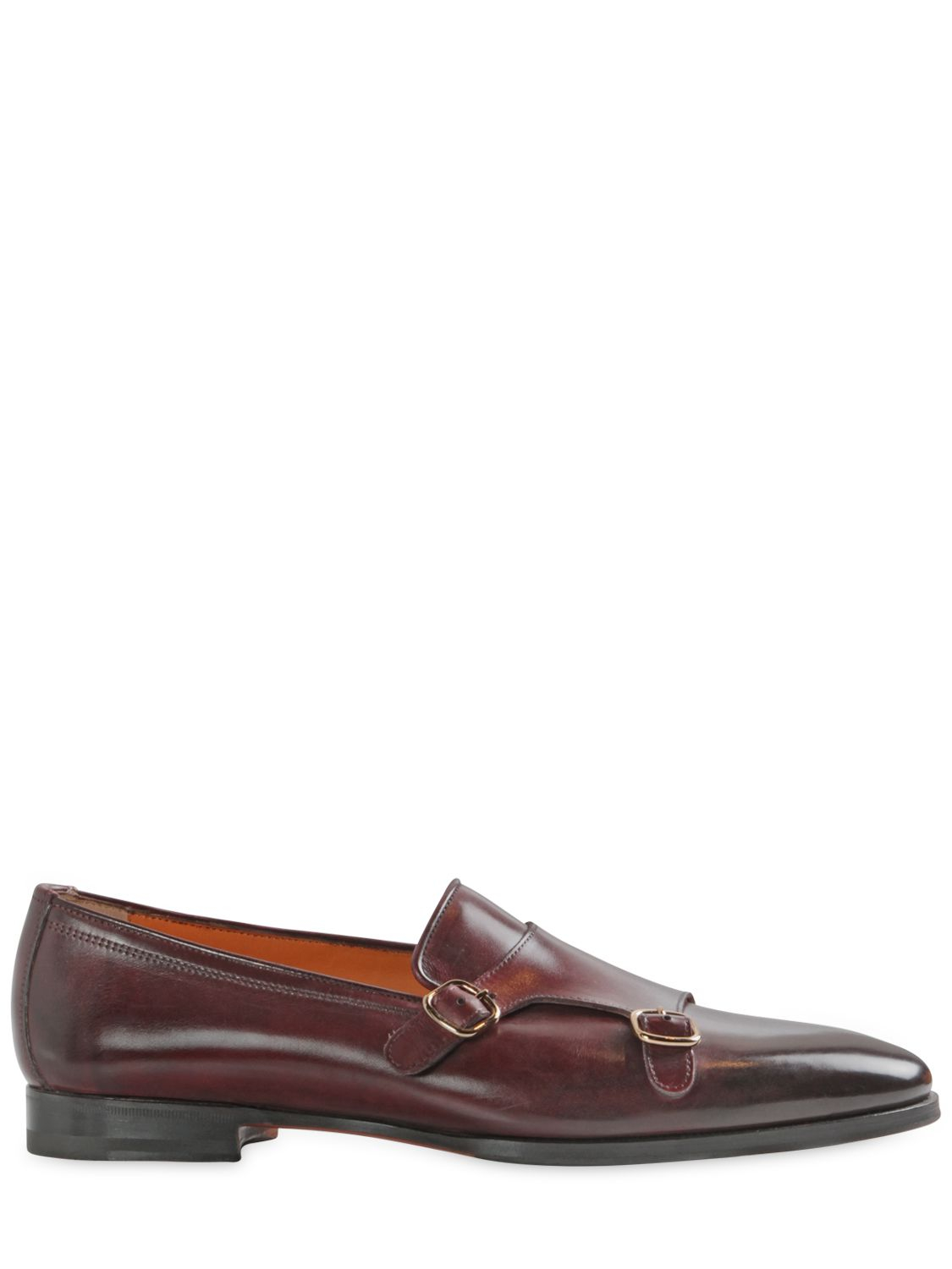 Lyst Santoni Hand Painted Leather Monk Strap Loafers In