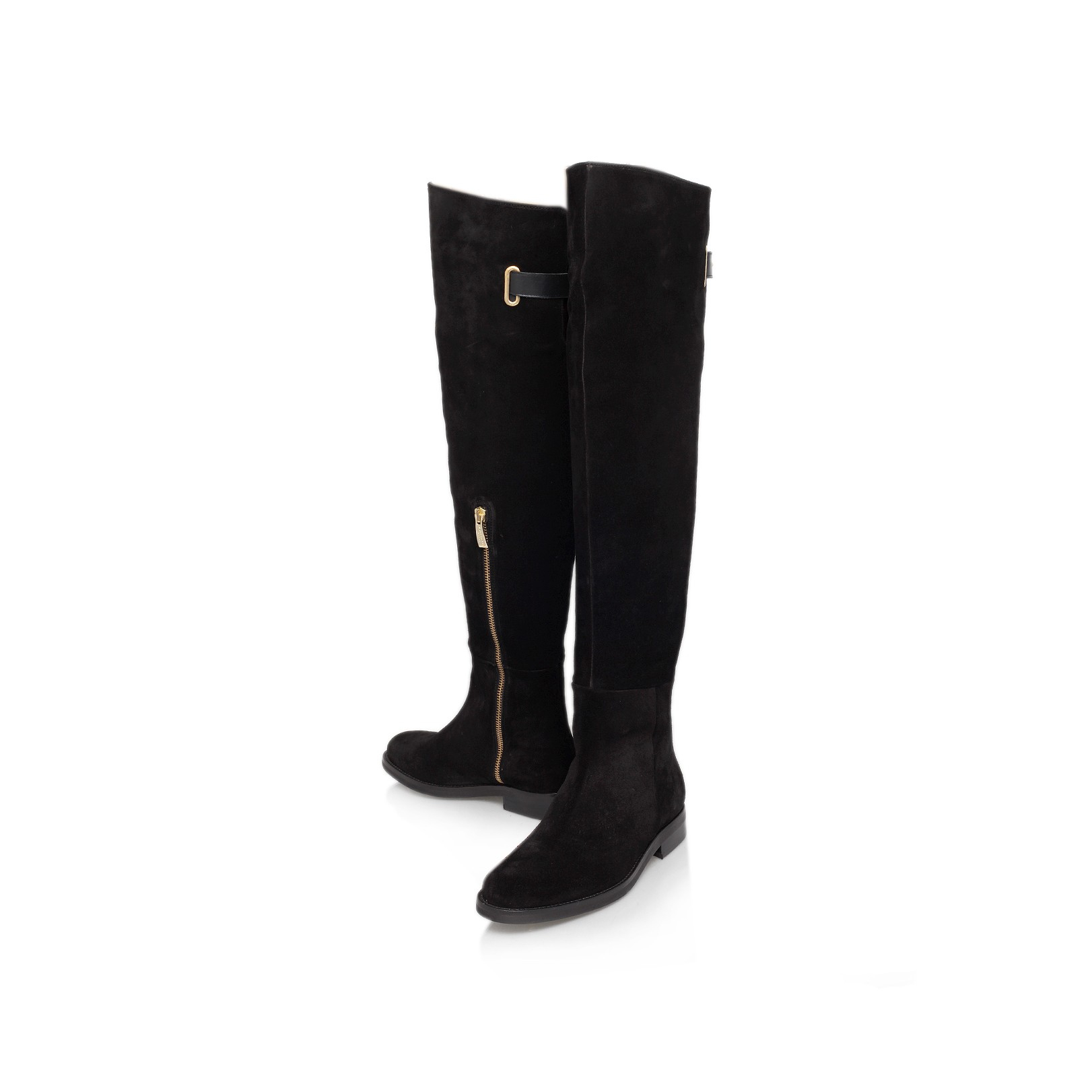 kurt geiger cole flat the knee boots in black
