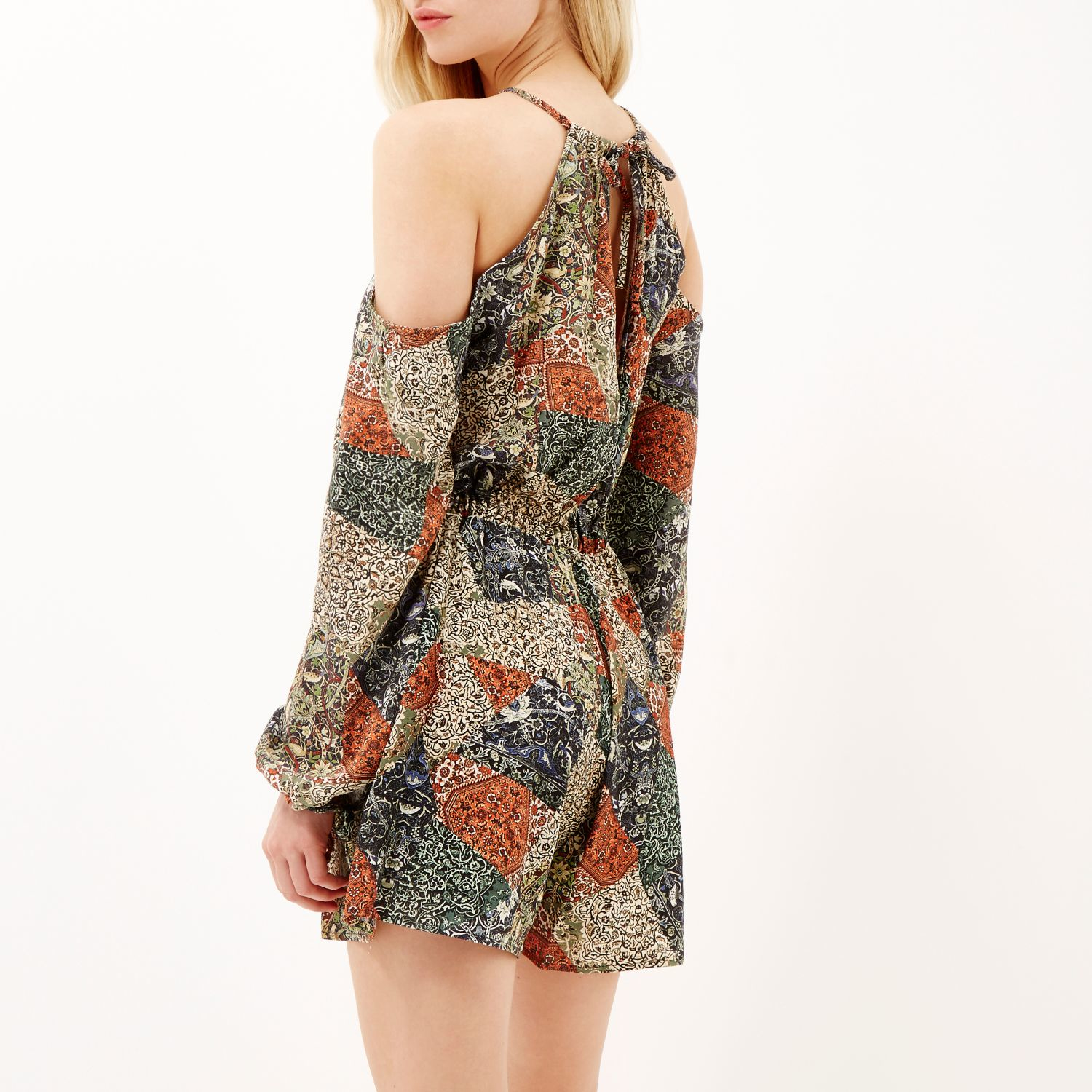 0c21517b70 River Island Green Paisley Print Cold Shoulder Playsuit in Green - Lyst