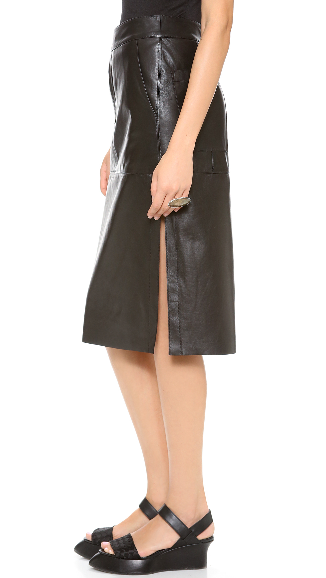 Helmut lang High Waisted Leather Skirt in Black | Lyst