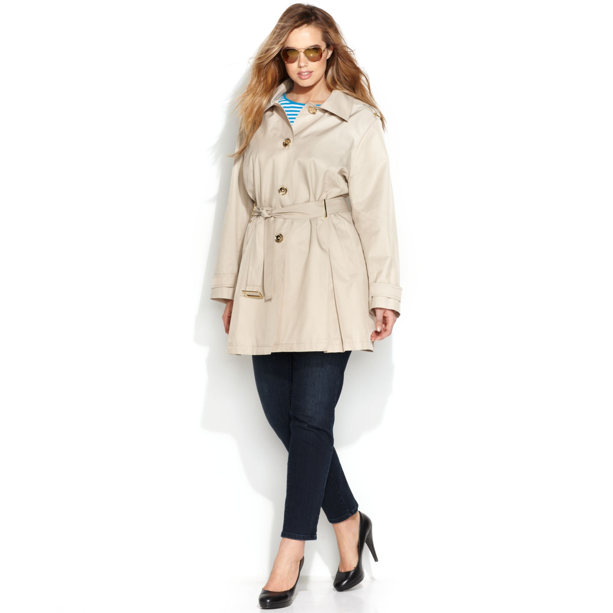 12d5201f7dd9e Lyst - Michael Kors Michael Plus Size Hooded Trench Coat in Natural