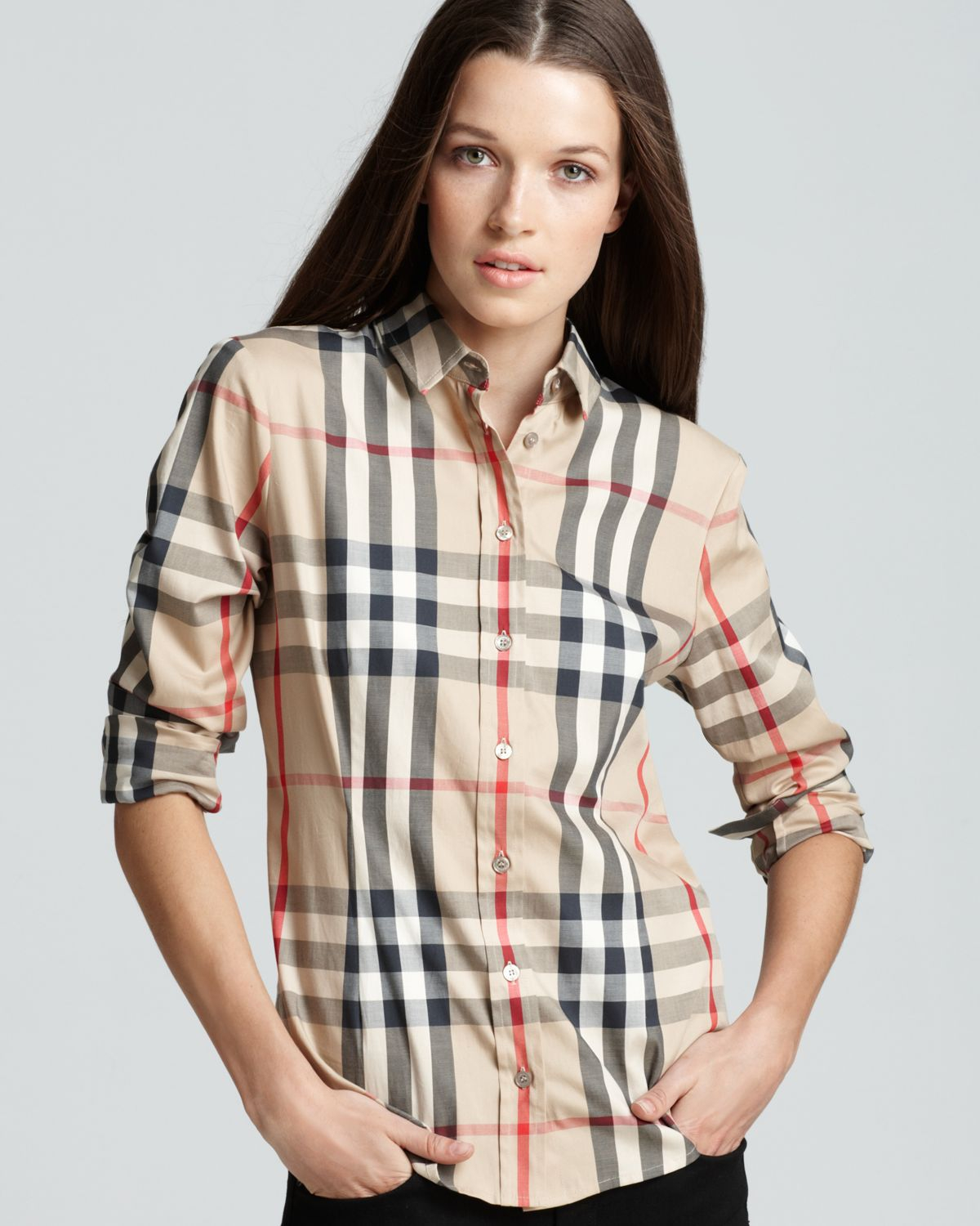 c8cb82a154307f Lyst - Burberry Woven Exploded Check Shirt in Natural