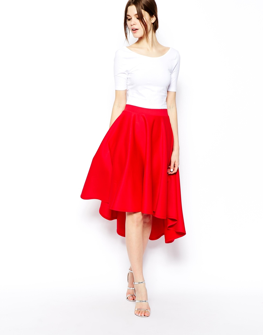 Asos Midi Skirt In Scuba With Dipped Hem in Red | Lyst