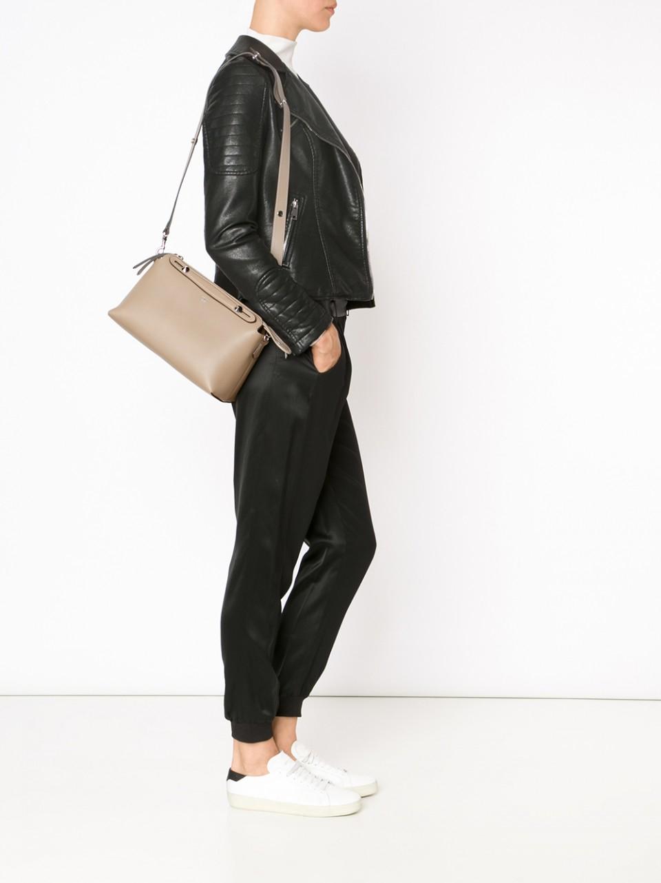 Fendi Handbag By The Way Bauletto Leather in Gray - Lyst a60c3cc0f41fd
