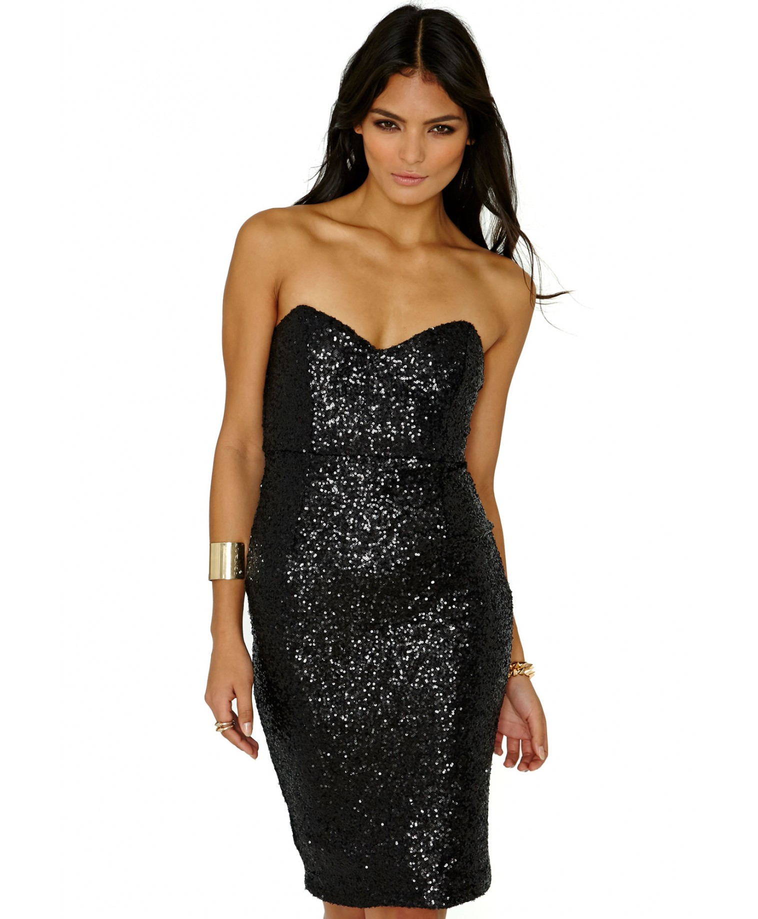 Missguided Bubla Strapless Sequin Midi Dress in Black in Black | Lyst