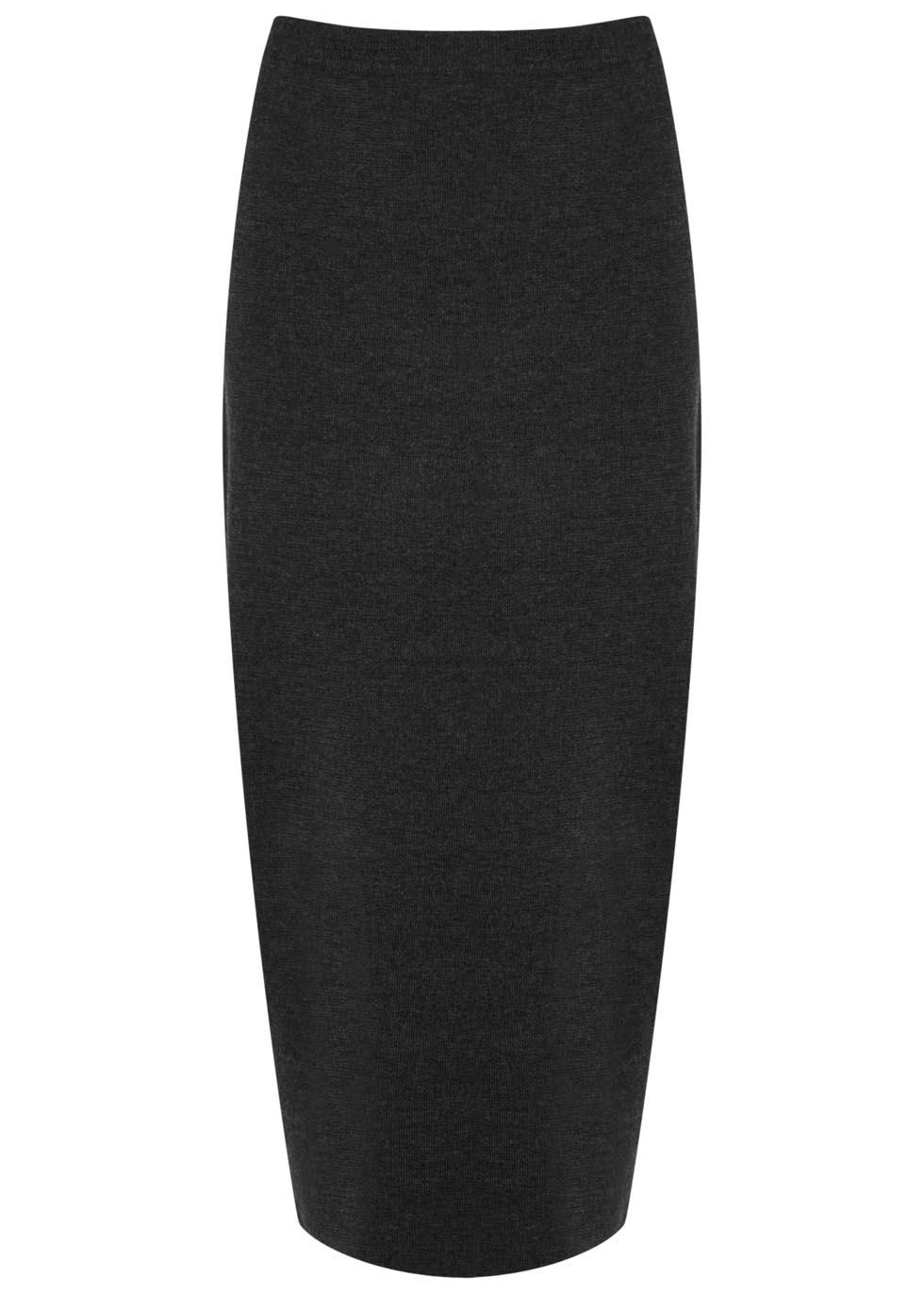 eileen fisher charcoal merino wool pencil skirt in black