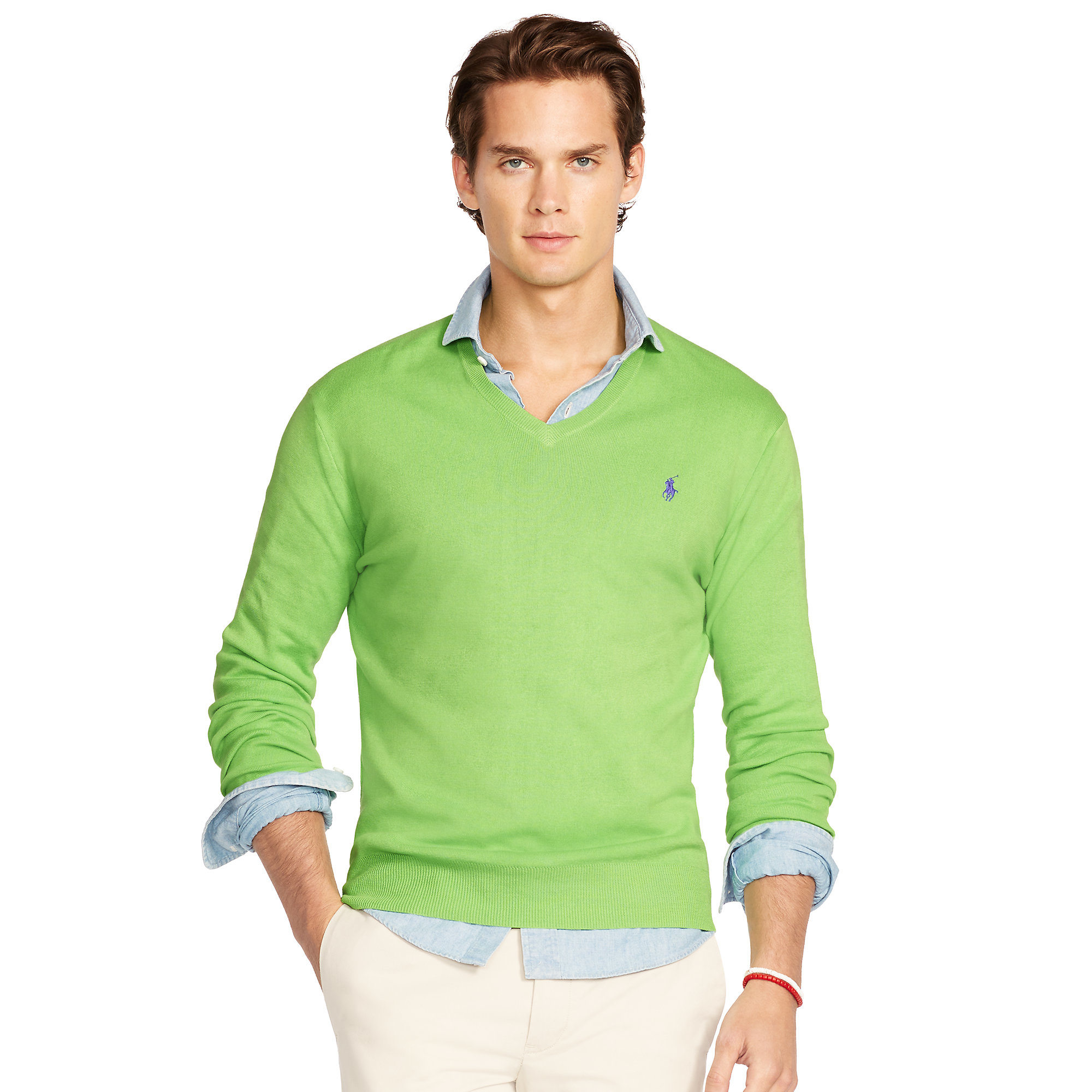 70a69193713b Lyst - Polo Ralph Lauren Pima Cotton V-neck Sweater in Green for Men