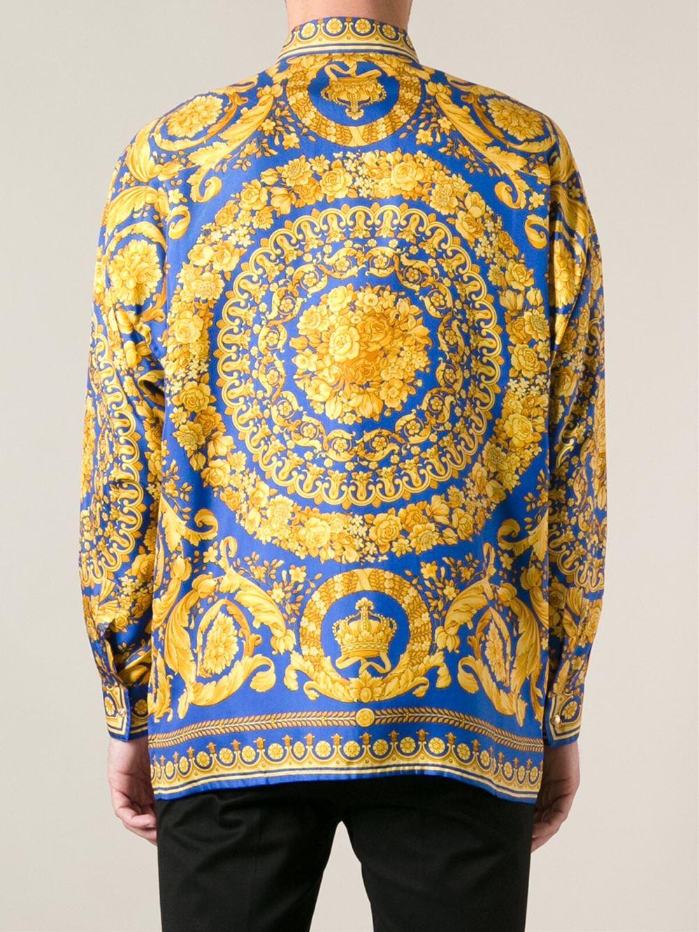 3d8484e09be Lyst - Versace Baroque Print Shirt in Yellow