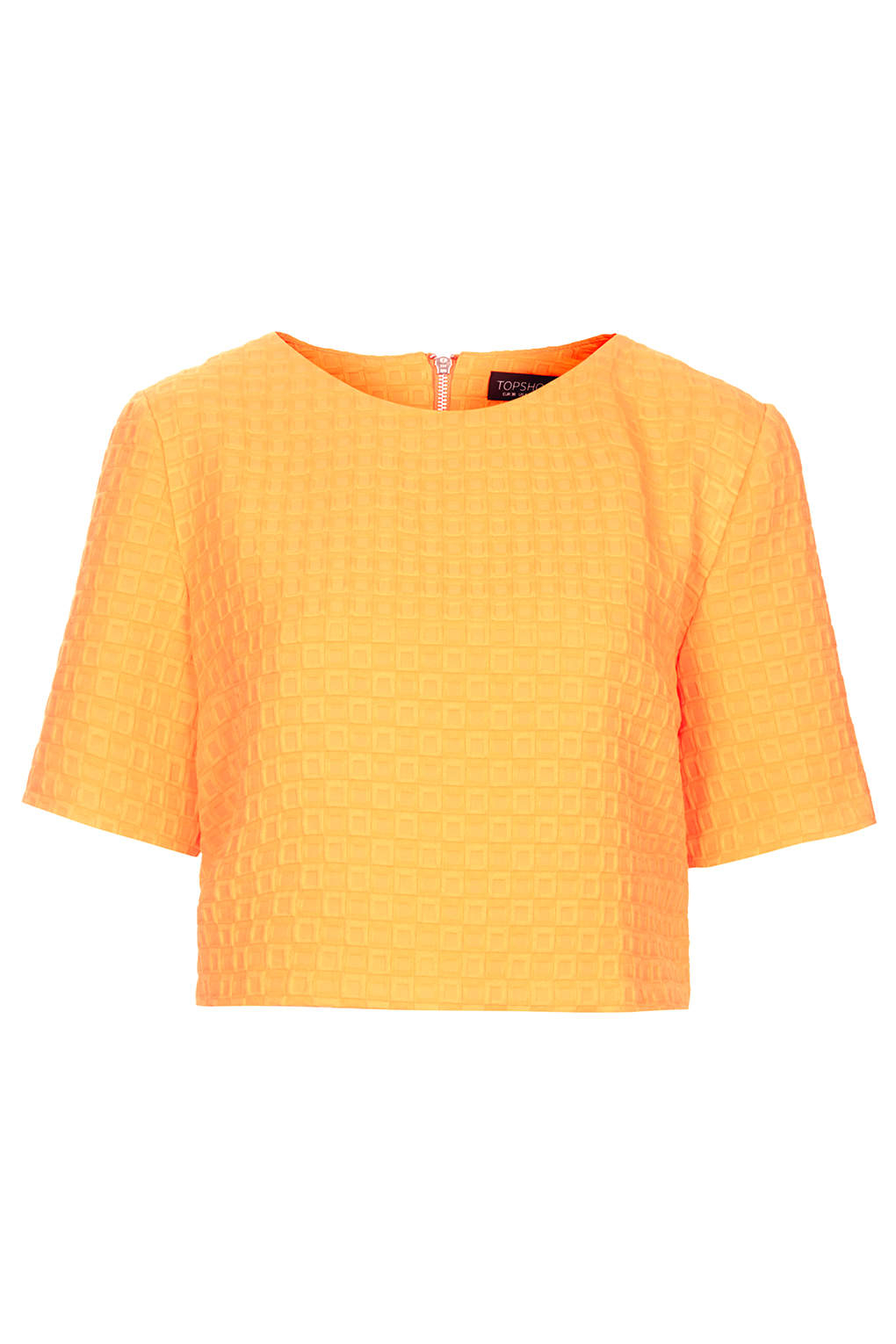 topshop texture crop tee in orange lyst. Black Bedroom Furniture Sets. Home Design Ideas