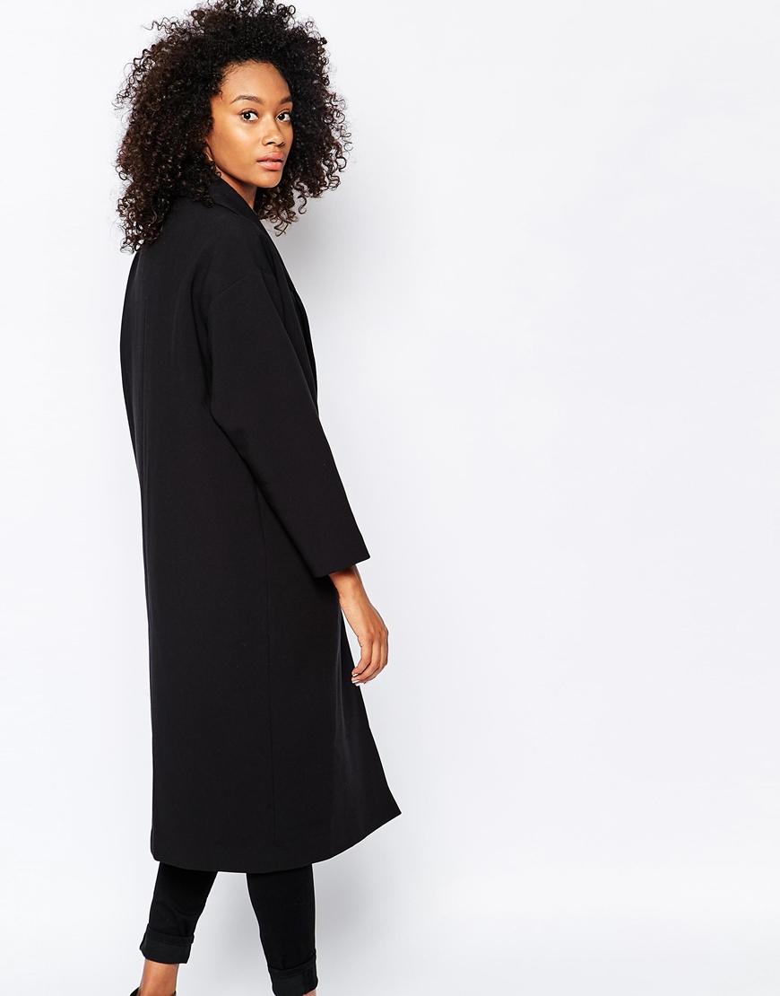 Monki Tailored Oversized Blazer Coat in Black | Lyst