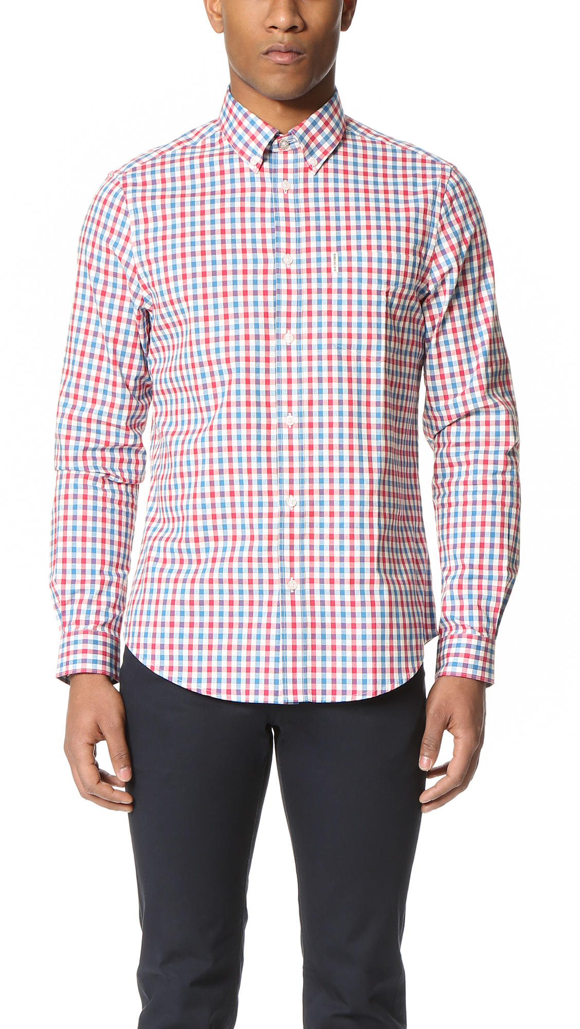 Ben Sherman Check Button Down Shirt In Pink For Men Lyst