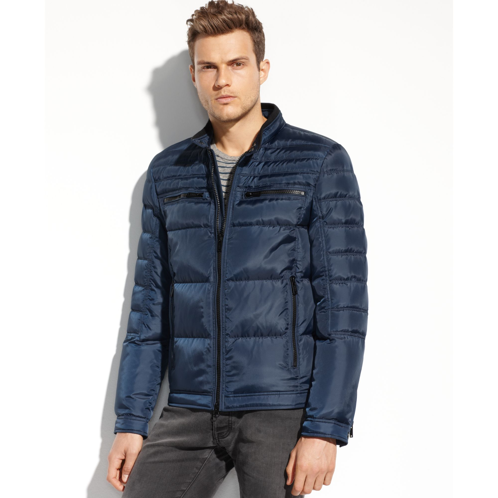 Lyst Guess Coats Quilted Down Moto Jacket In Blue For Men