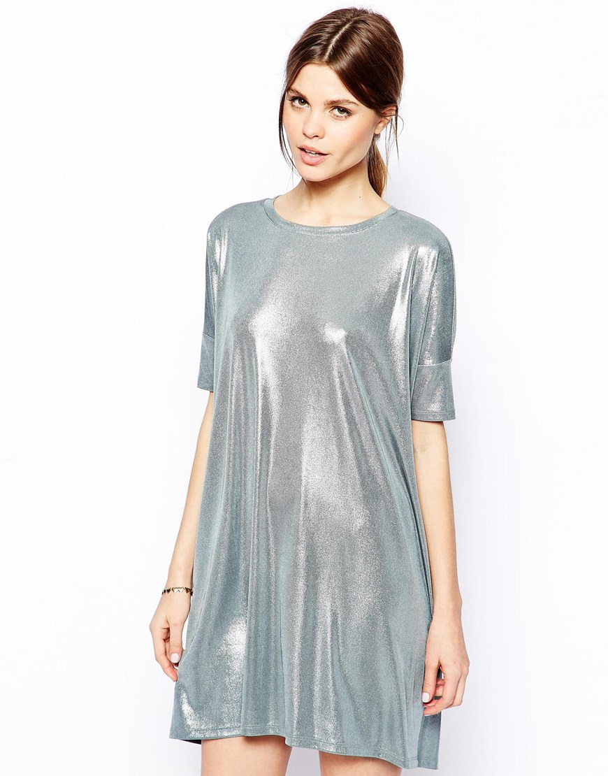 Asos T Shirt Dress In Metallic In Metallic Lyst