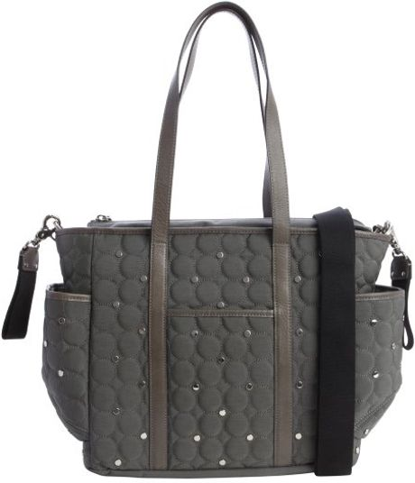 Rebecca Minkoff Grey And Brown Quilted Nylon Diaper Bag In