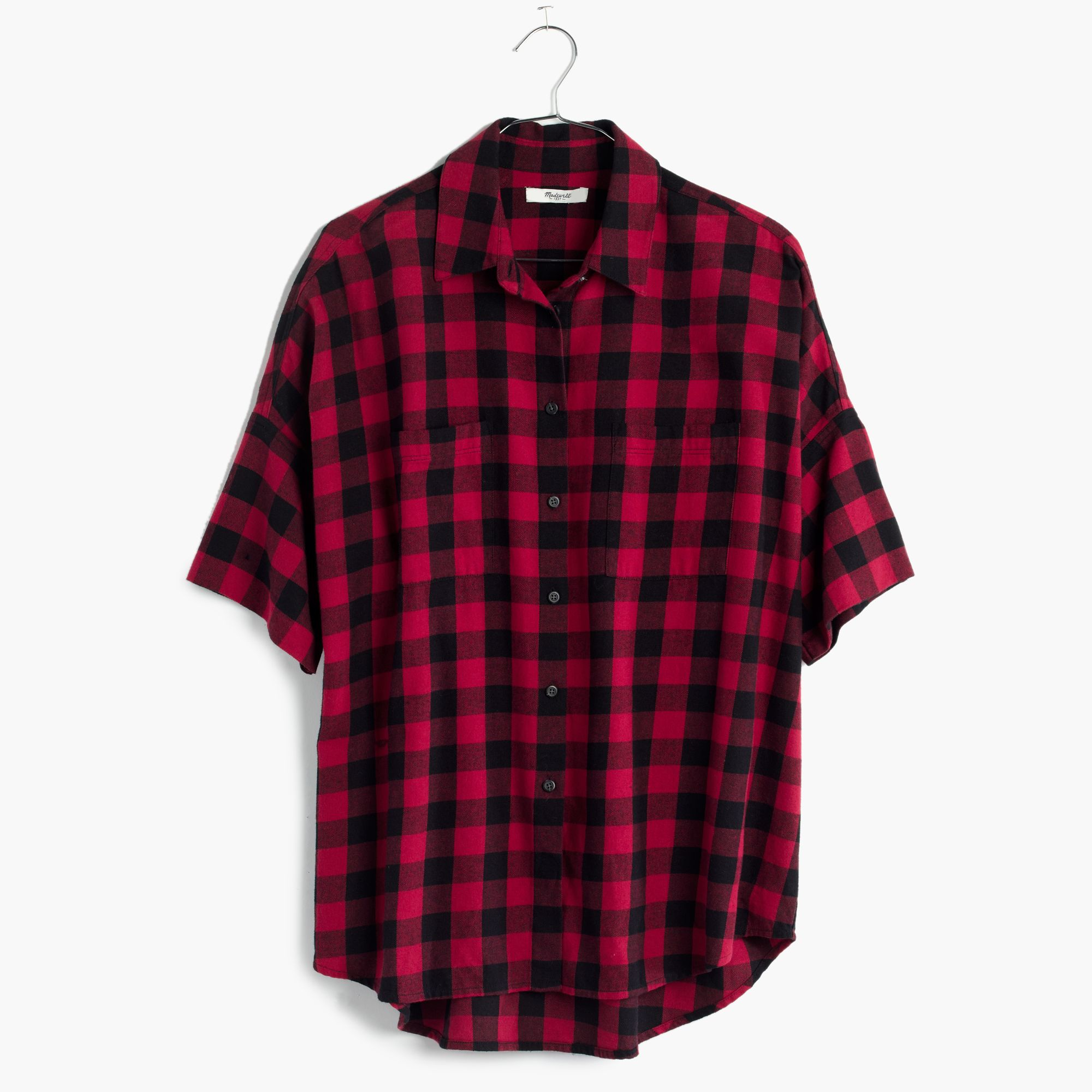Madewell flannel courier shirt in buffalo check in red lyst for Red buffalo flannel shirt