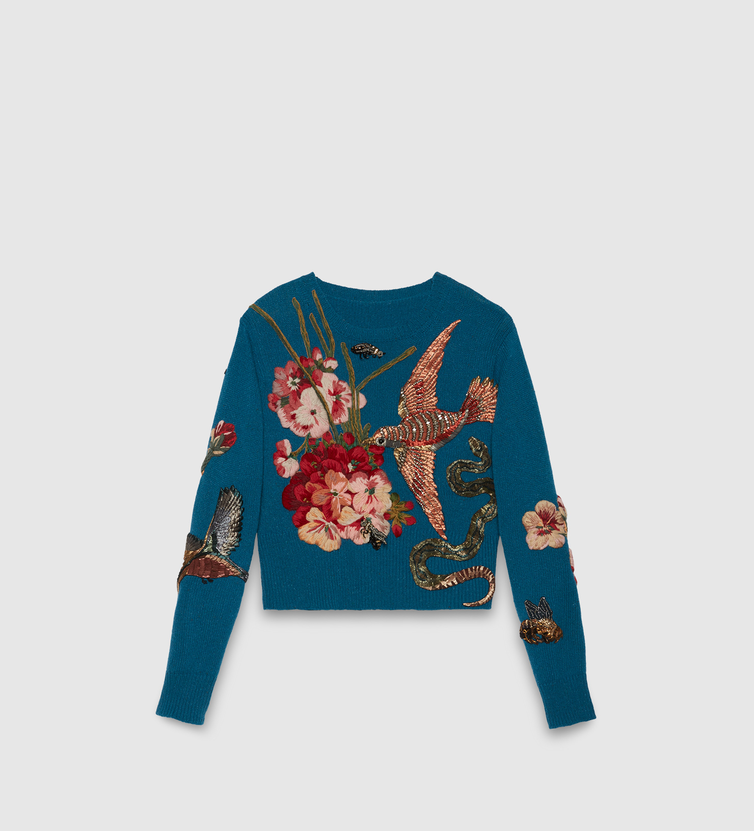 Lyst Gucci Embroidered Wool Sweater In Blue