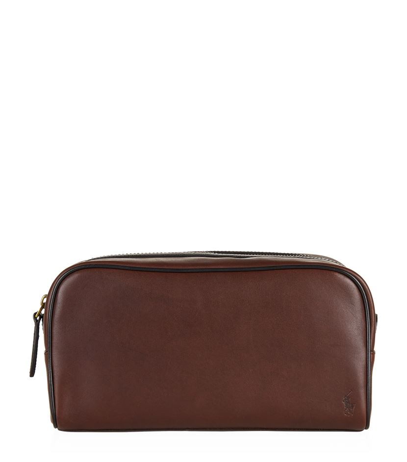 1f04fc26cc Polo Ralph Lauren Leather Wash Bag in Brown for Men - Lyst