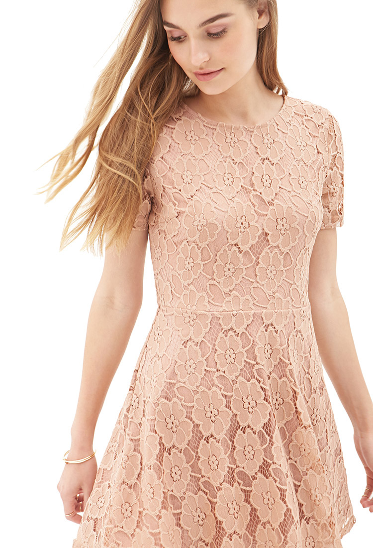 lyst forever 21 floral lace aline dress in pink