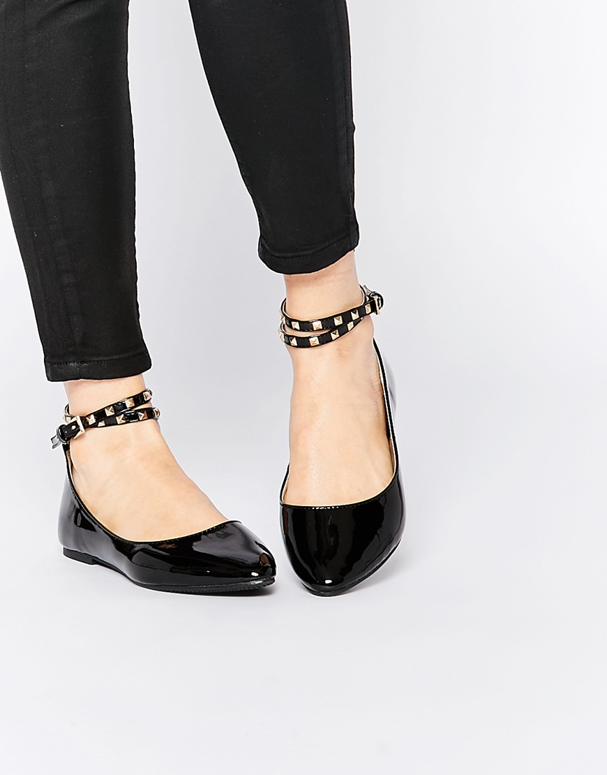 Lyst - Daisy Street Black Studded Ankle Strap Ballet Flat Shoes in Black aac0e3442171