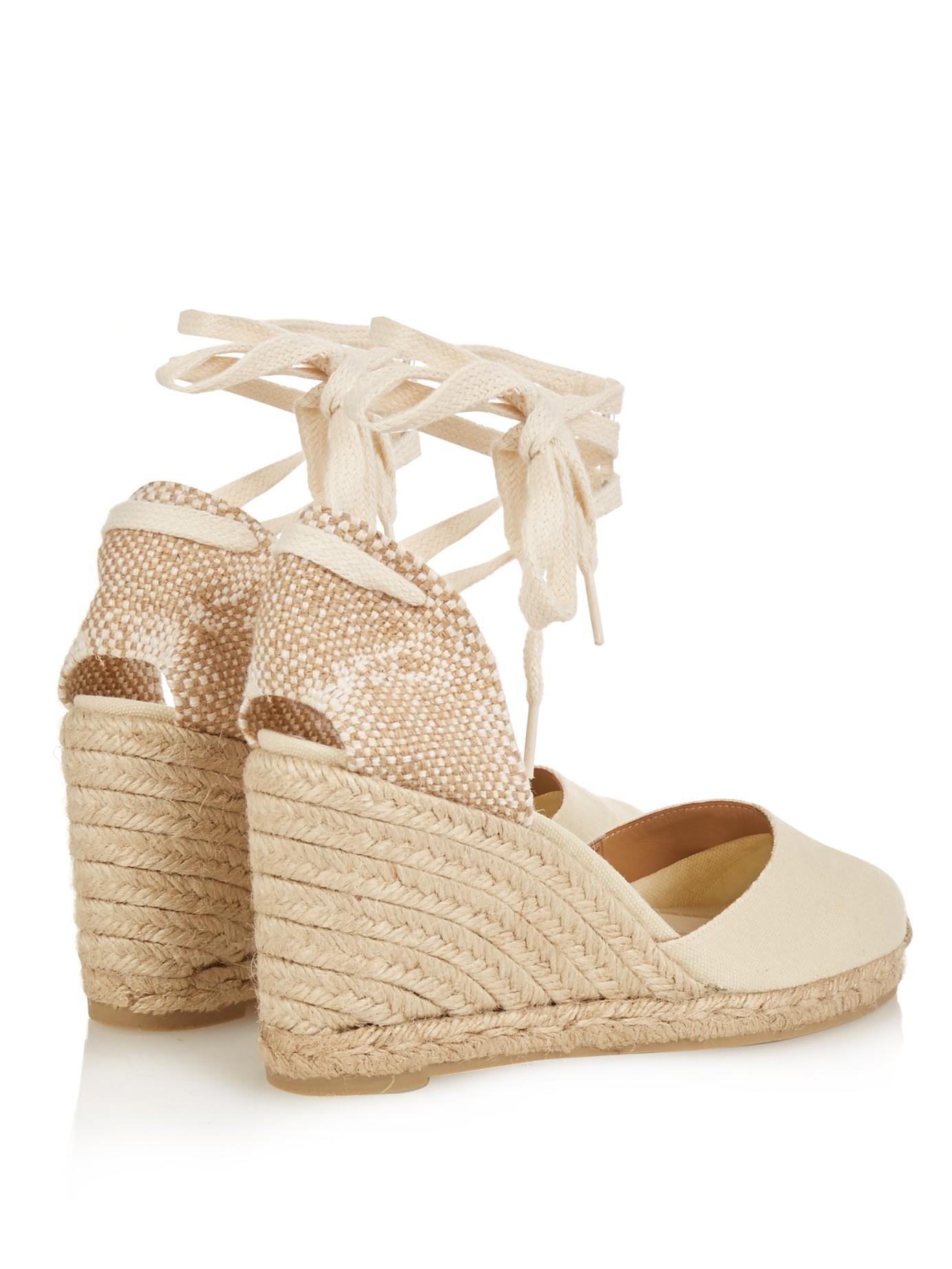 Castaner Women's Carina Lace Up Espadrille Wedge Sandals Wv92LFfxG