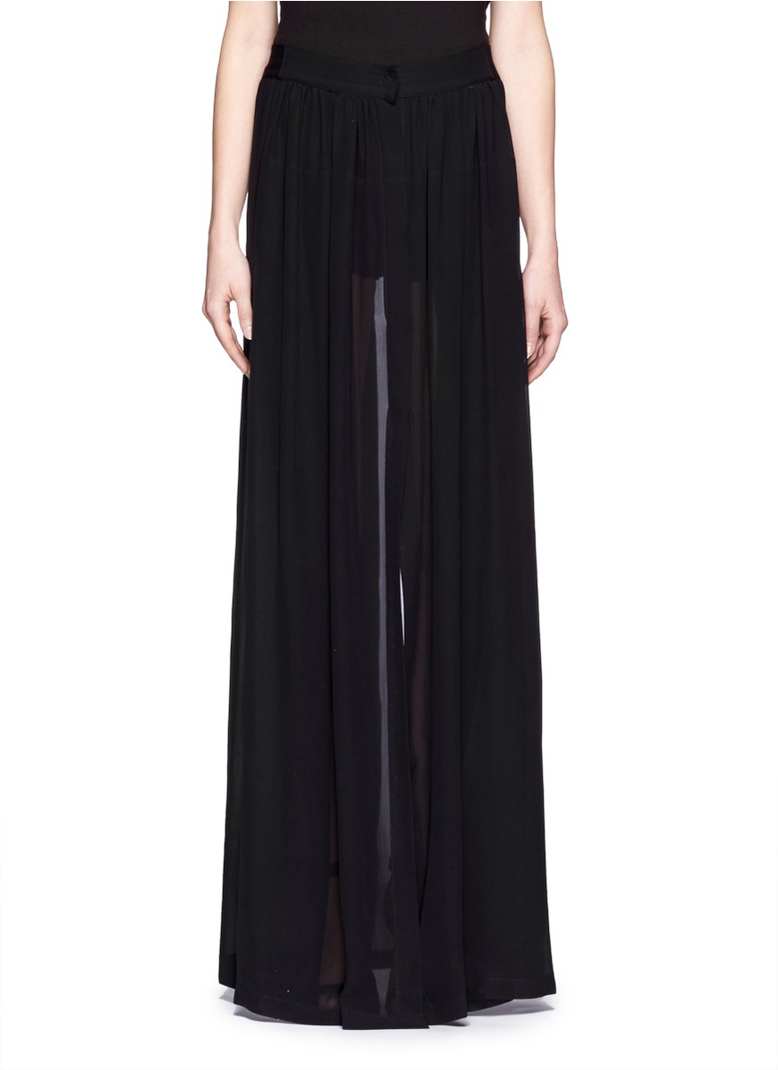 demeulemeester sheer silk splitback maxi skirt in