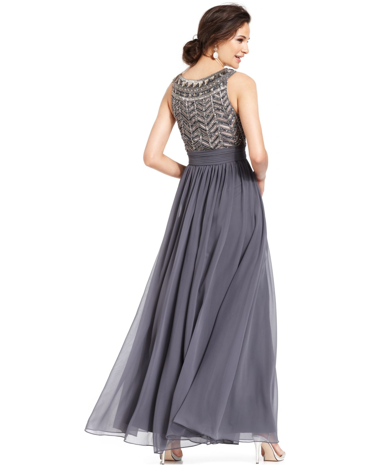 287767654d Lyst - JS Collections Sleeveless Beaded Empire Waist Gown in Gray