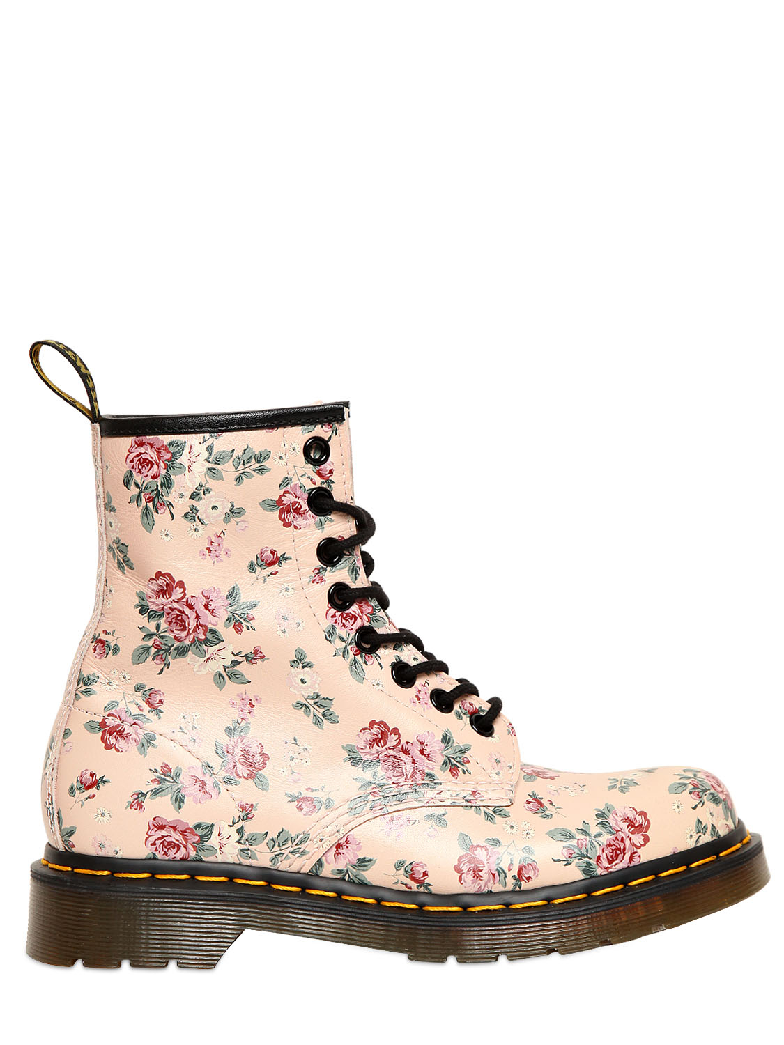 Lyst dr martens 30mm floral printed core leather boots in pink gallery mightylinksfo